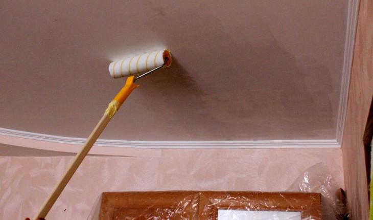 Как покрасить потолки валиком